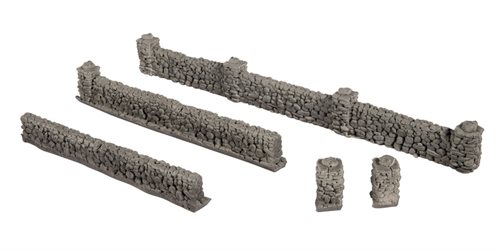 Noch 58281 Basalt WALLS, wall height 1.5 cm, pillar height 2.0 cm, total wall length 104 cm, H0 NYHED 2020