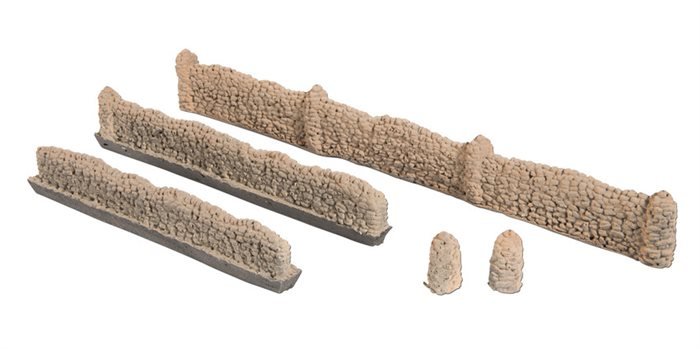 Noch 58283 Natural stone walls, wall height 1.5 cm, pillar height 2.0 cm, total wall length 104 cm, H0 NYHED 2020