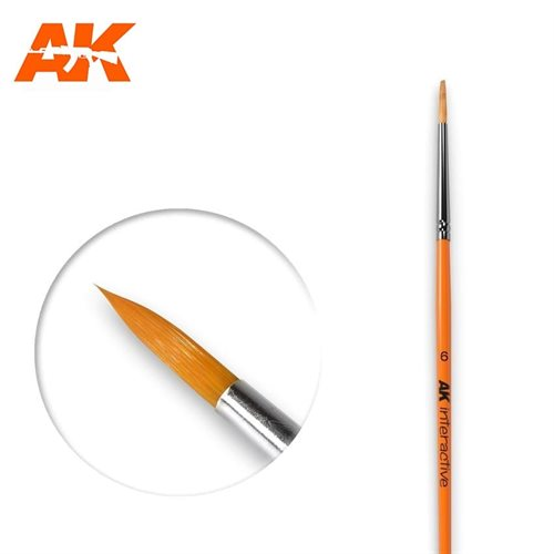 AK606 6 ROUND BRUSH. SYNTHETIC
