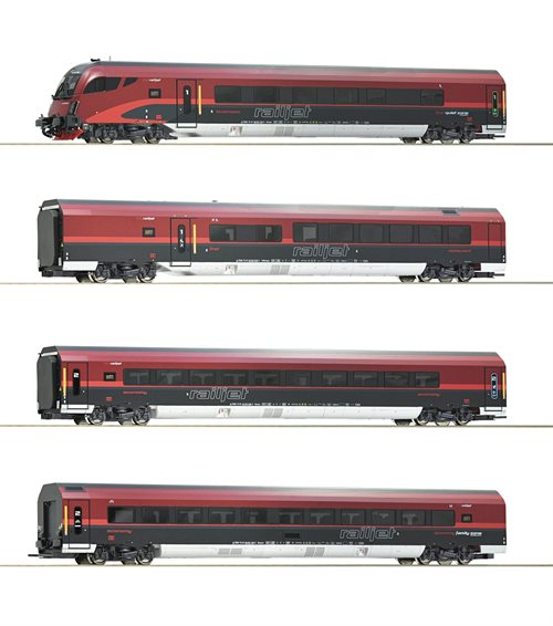 "Roco 74085 4 piece set ""Railjet"", ÖBB, ep 4 piece set ""Railjet"", ÖBB, AC, ep VI, H0"