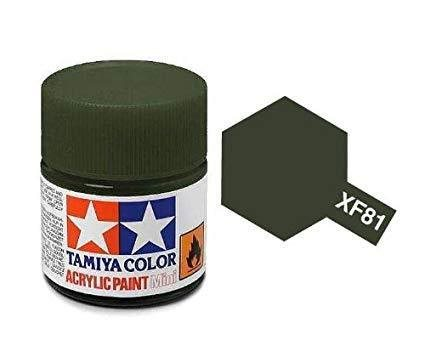 Tamiya 81781 Akryl maling, XF81, Dark green 2 (RAF), 10 ml